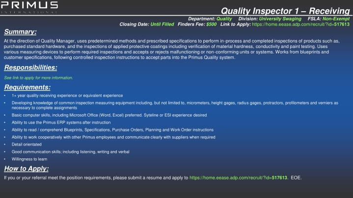 Quality Inspector 1 – Receiving