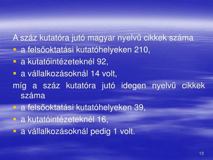 A szz kutatra jut magyar nyelv cikkek szma