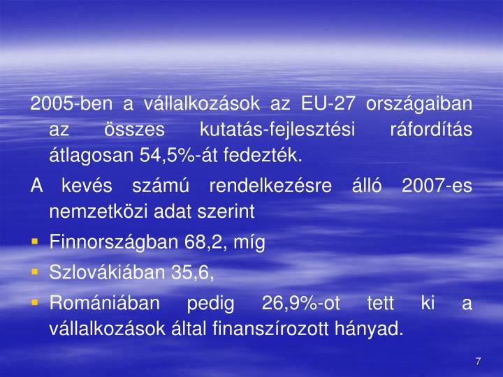 2005-ben a vllalkozsok az EU-27 orszgaiban az sszes kutats-fejlesztsi rfordts tlagosan 54,5%-t fedeztk.