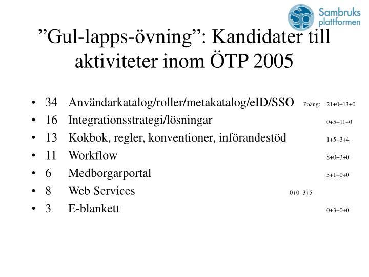 """""""Gul-lapps-övning"""": Kandidater till aktiviteter inom ÖTP 2005"""