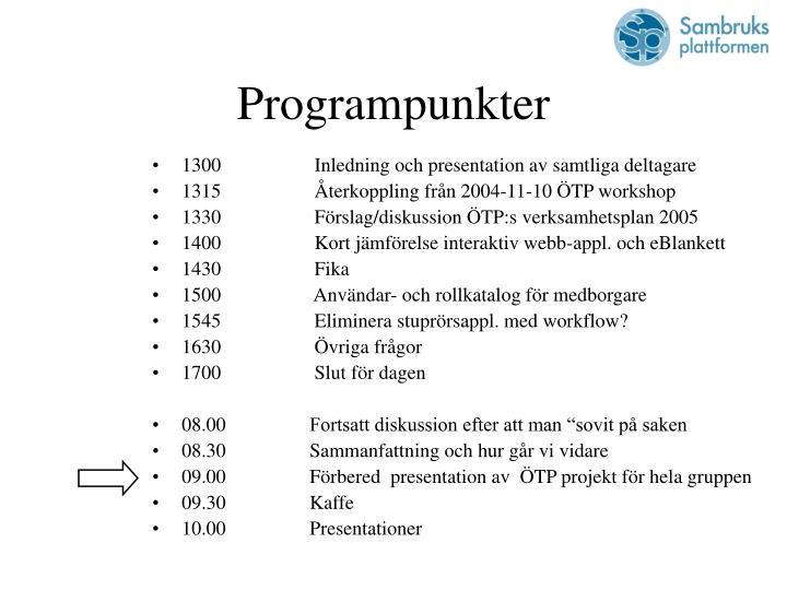 Programpunkter