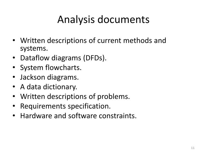 Analysis documents