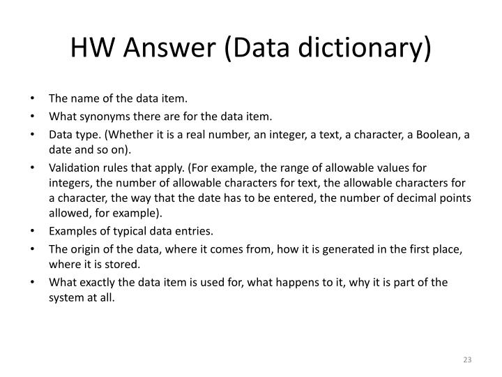 HW Answer (Data dictionary)