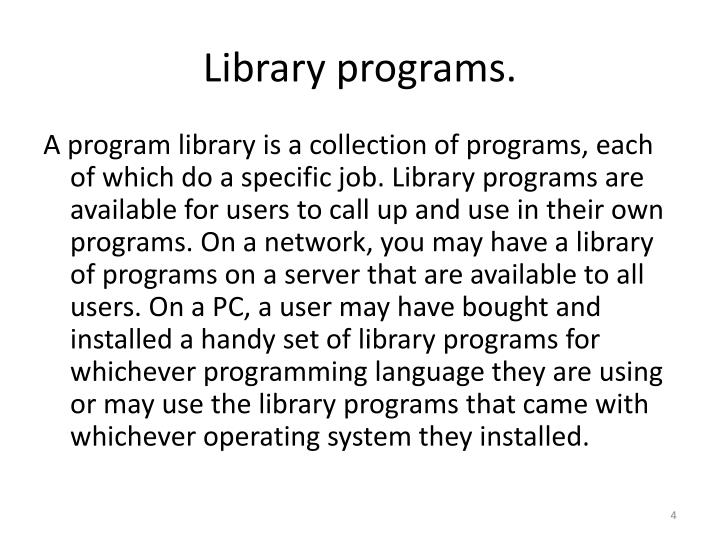 Library programs.