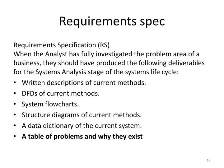 Requirements spec
