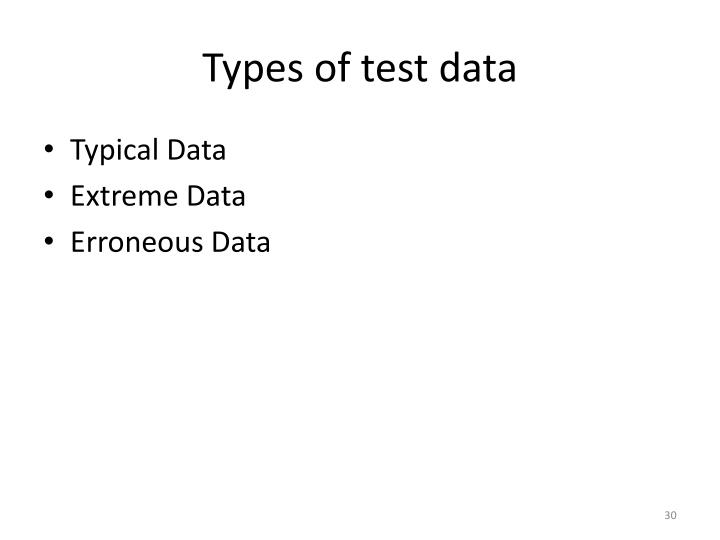 Types of test data