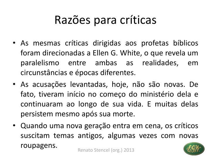 Razões para críticas