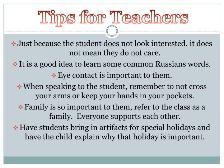 Tips for Teachers