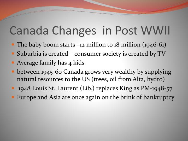 Canada Changes  in Post WWII