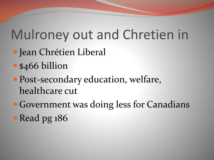 Mulroney out and Chretien in