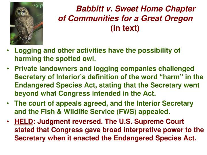Babbitt v. Sweet Home Chapter of Communities for a Great Oregon