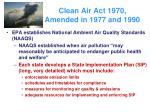 clean air act 1970 amended in 1977 and 1990