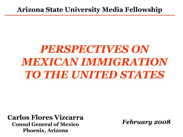 Perspectives on mexican immigration to the united states
