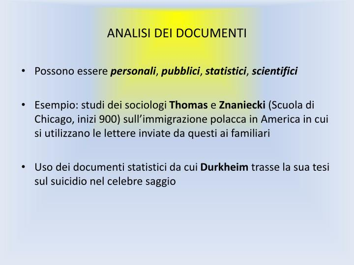 ANALISI DEI DOCUMENTI