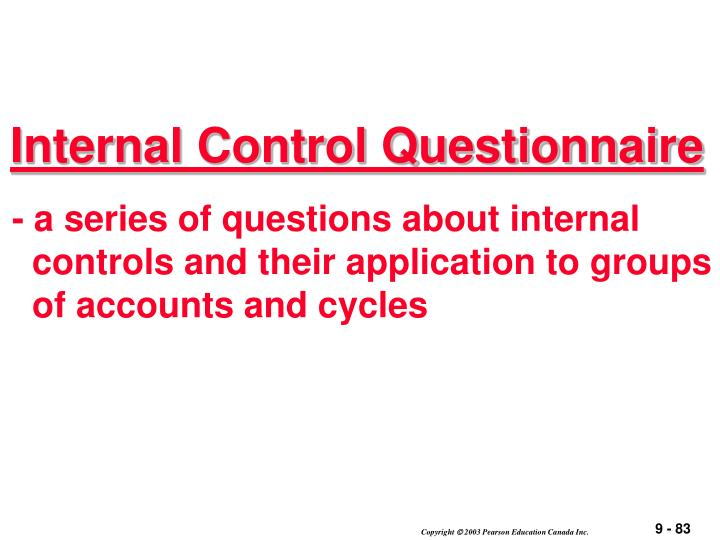 Internal Control Questionnaire