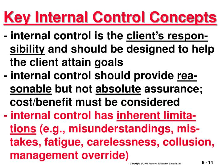 Key Internal Control Concepts