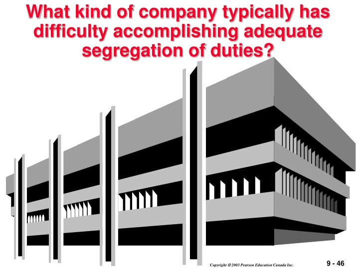 What kind of company typically has difficulty accomplishing adequate segregation of duties?