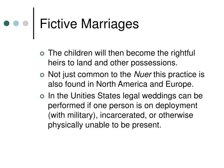 Fictive Marriages