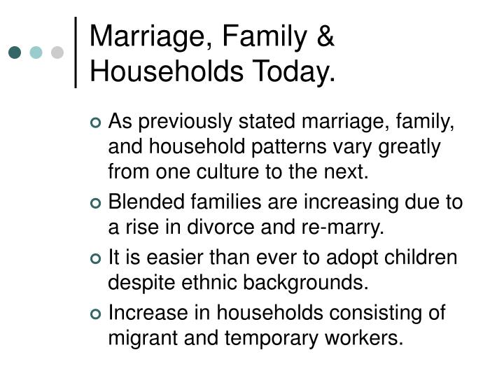 Marriage, Family & Households Today.