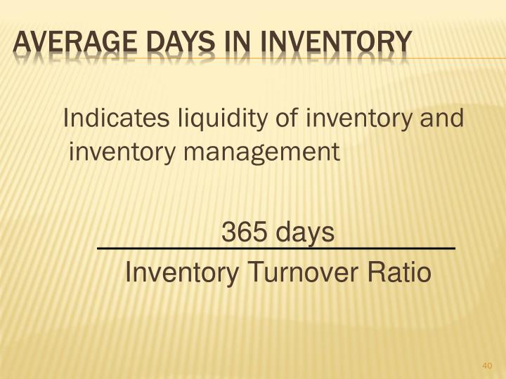 Average Days in Inventory