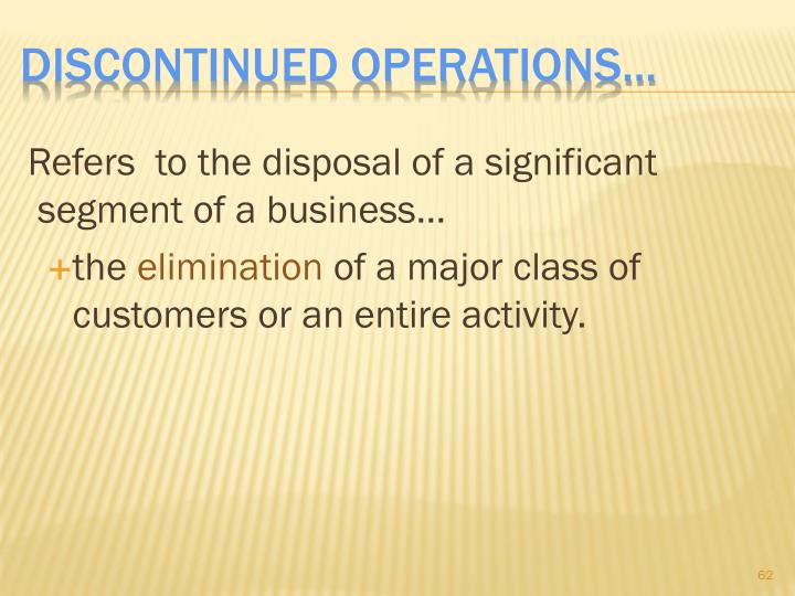 Discontinued Operations...