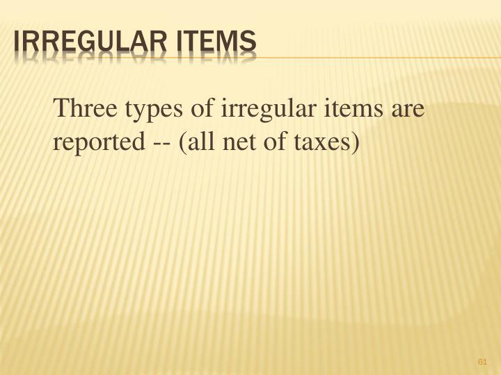 Irregular Items