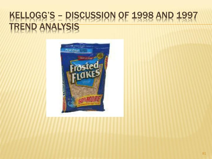 Kellogg's – DISCUSSION OF 1998 AND 1997 Trend analysis