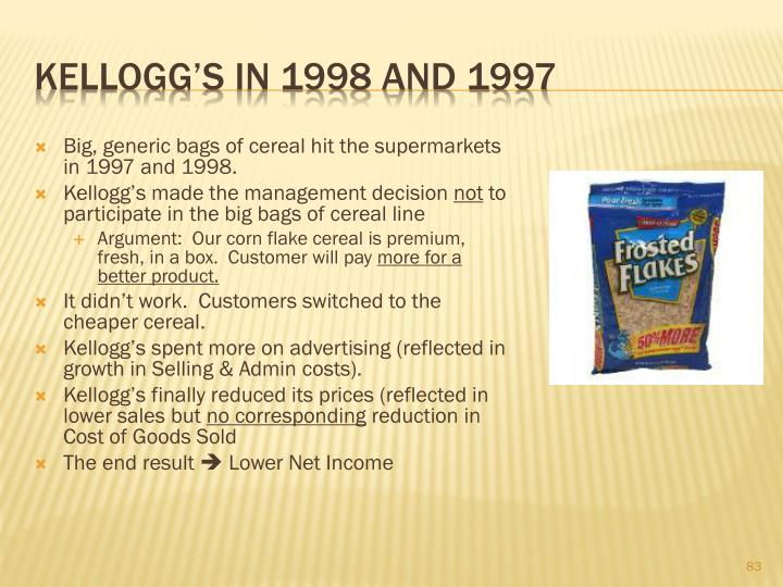 Big, generic bags of cereal hit the supermarkets in 1997 and 1998.