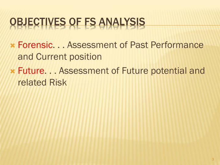 Objectives of FS Analysis