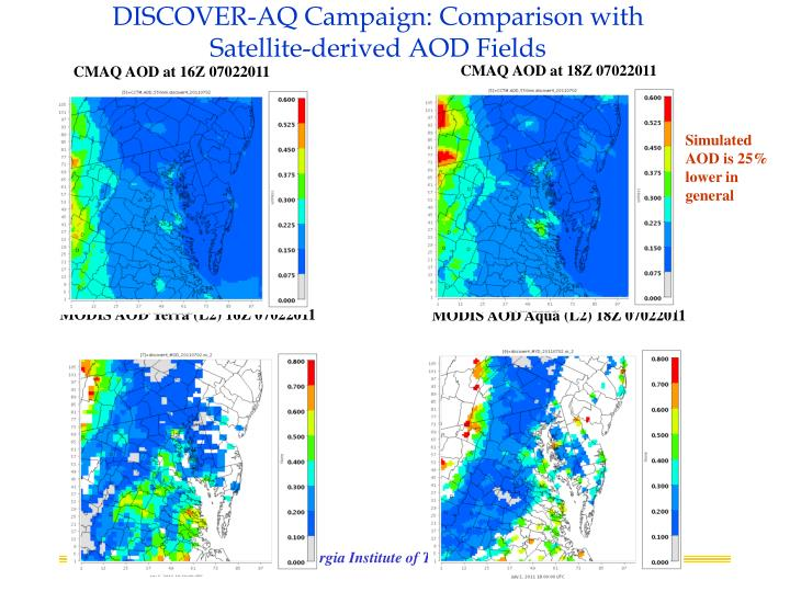 DISCOVER-AQ Campaign: Comparison with Satellite-derived AOD Fields