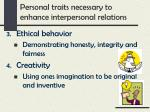 personal traits necessary to enhance interpersonal relations1