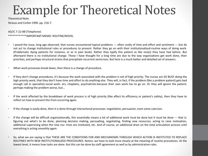 Example for Theoretical Notes
