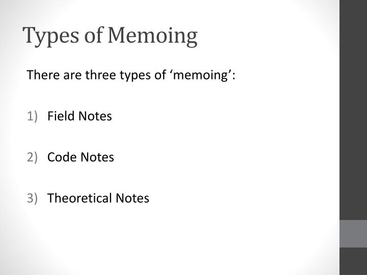 Types of Memoing