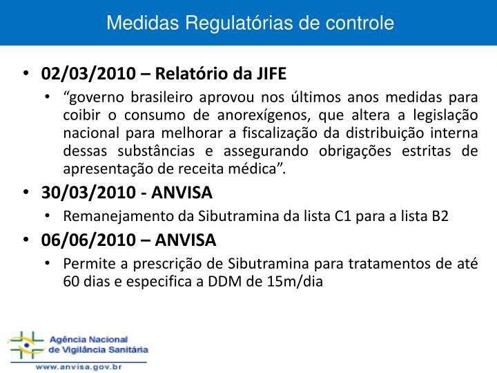 Medidas Regulatórias de controle