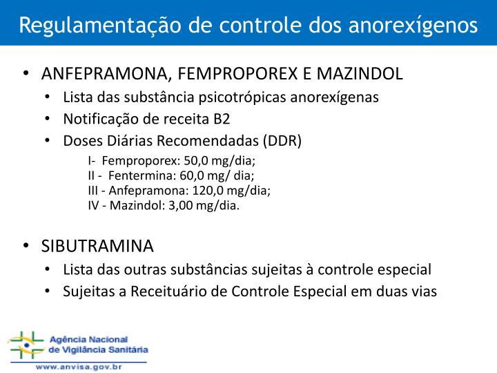 Regulamentação de controle dos anorexígenos