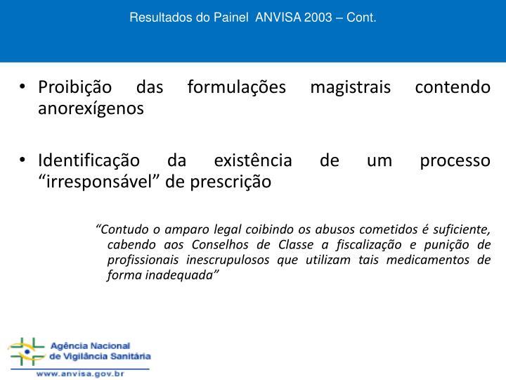 Resultados do Painel  ANVISA 2003 – Cont.