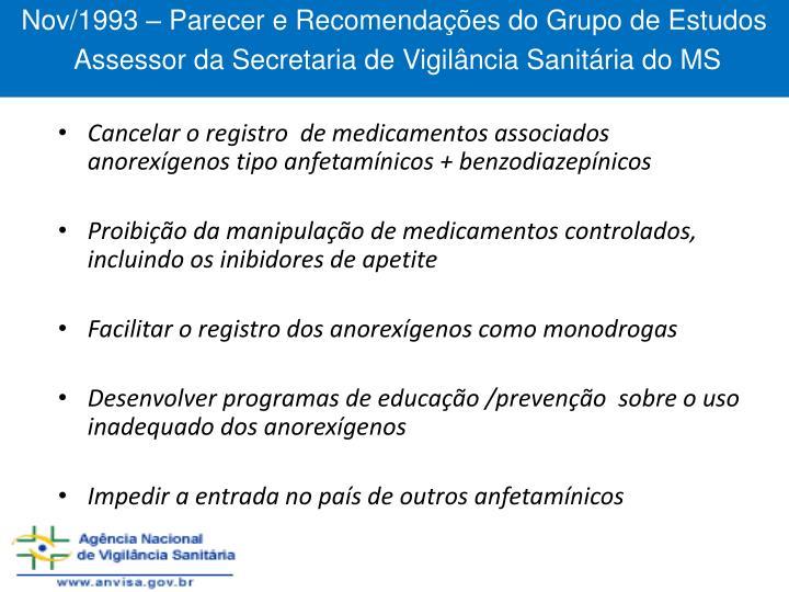 Nov/1993 – Parecer e Recomendações do Grupo de Estudos