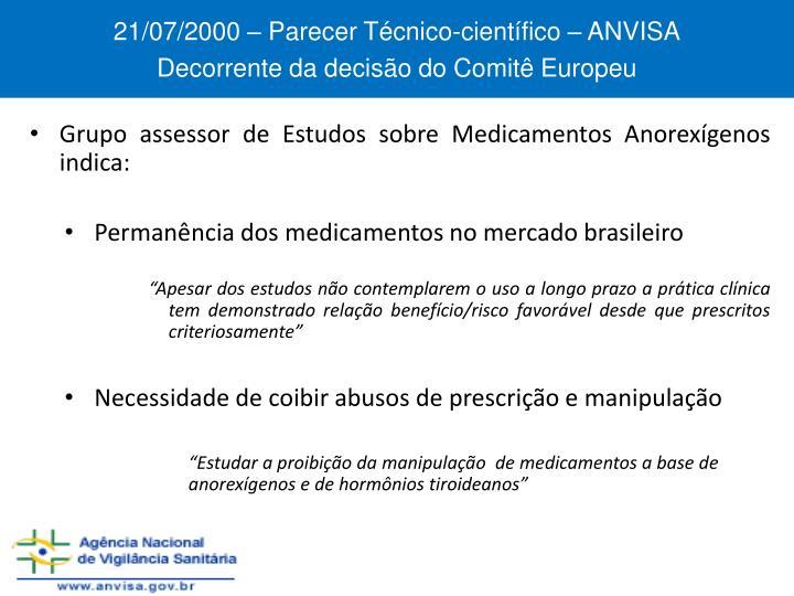 21/07/2000 – Parecer Técnico-científico – ANVISA
