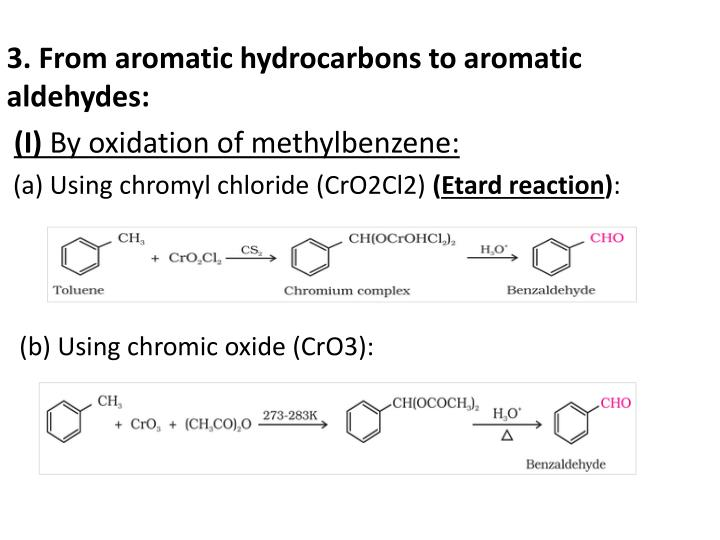 3. From aromatic hydrocarbons to aromatic aldehydes