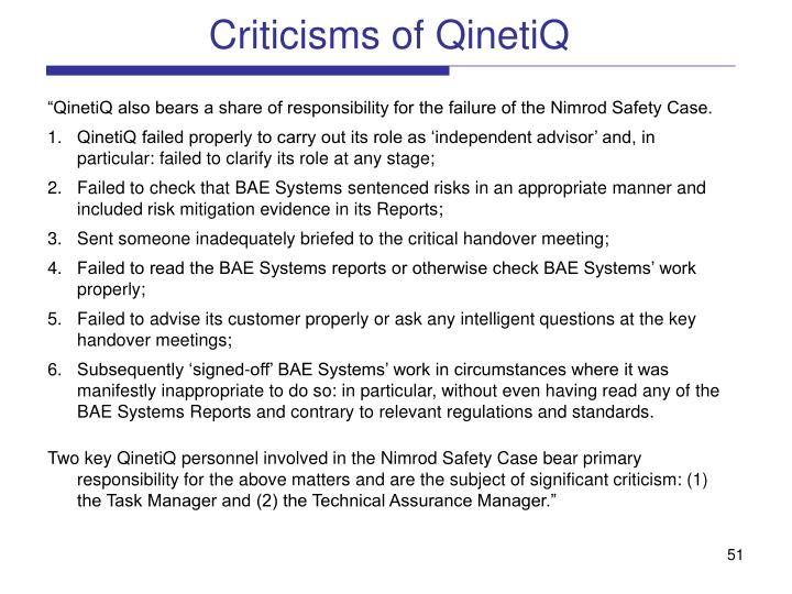 Criticisms of QinetiQ
