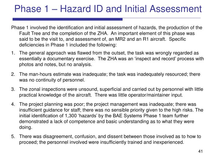 Phase 1 – Hazard ID and Initial Assessment