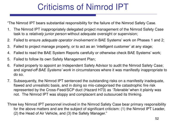 Criticisms of Nimrod IPT