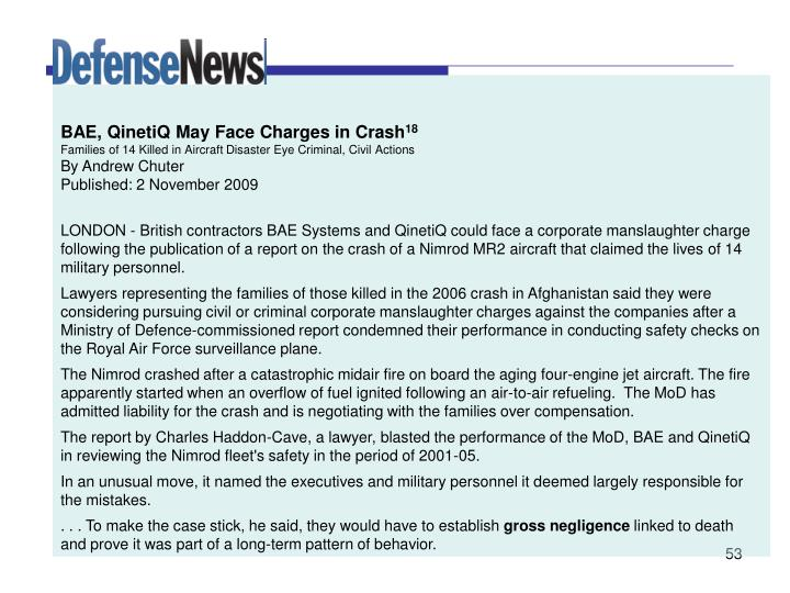 BAE, QinetiQ May Face Charges in Crash