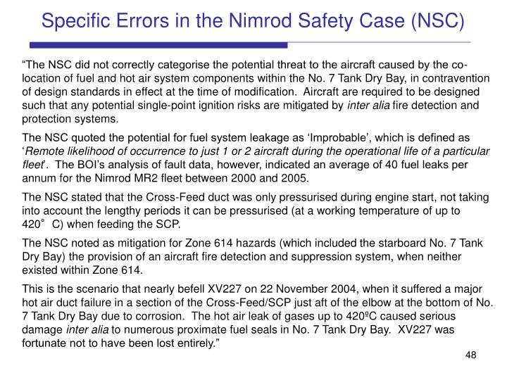 Specific Errors in the Nimrod Safety Case (NSC)