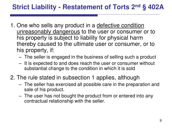 Strict Liability - Restatement of Torts 2