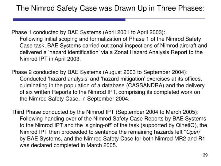 The Nimrod Safety Case was Drawn Up in Three Phases: