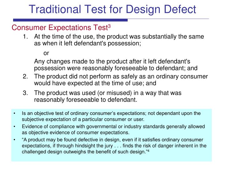 Traditional Test for Design Defect