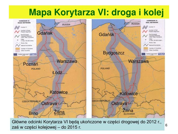 Mapa Korytarza VI: droga i kolej