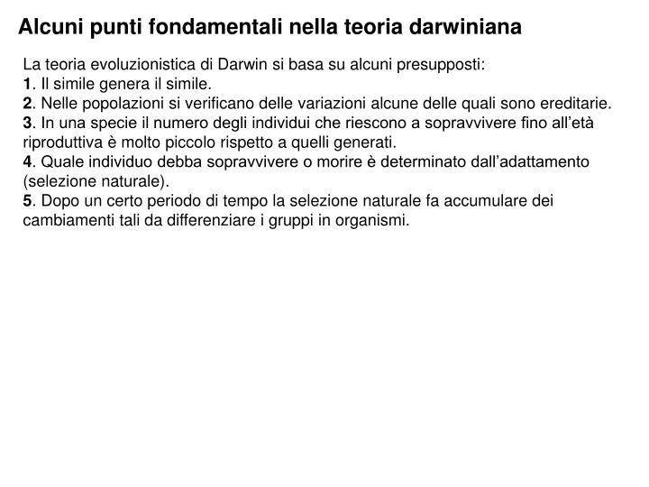 Alcuni punti fondamentali nella teoria darwiniana