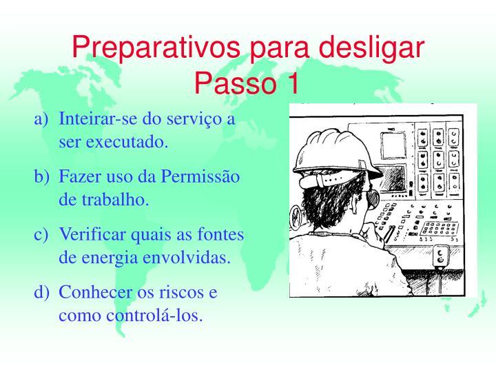 Preparativos para desligar Passo 1